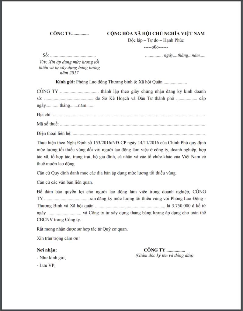Công văn đề nghị ký thang bảng lương