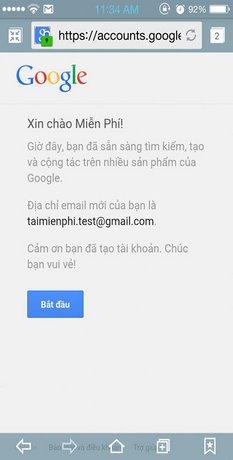 Hoàn thành bước đăng ký gmail và có thể sử dụng