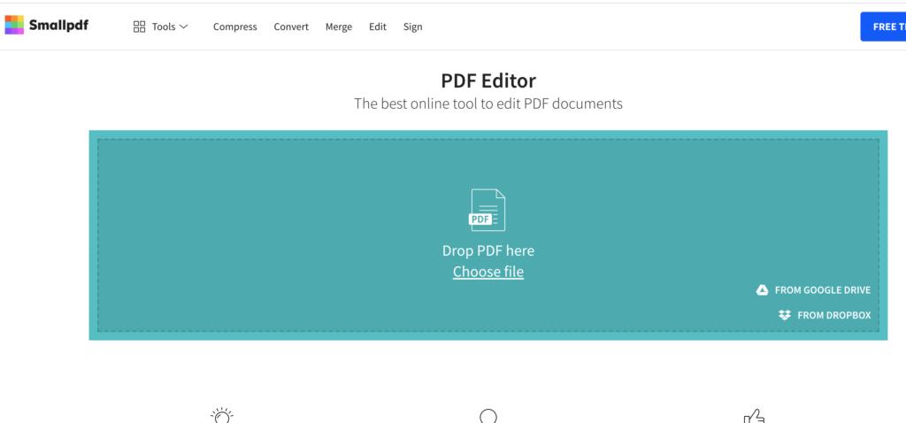 Chỉ việc chọn file pdf cần chỉnh sửa và tiến hành thực hiện online