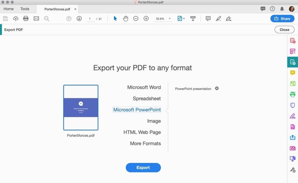 Nhấp vào Export PDF