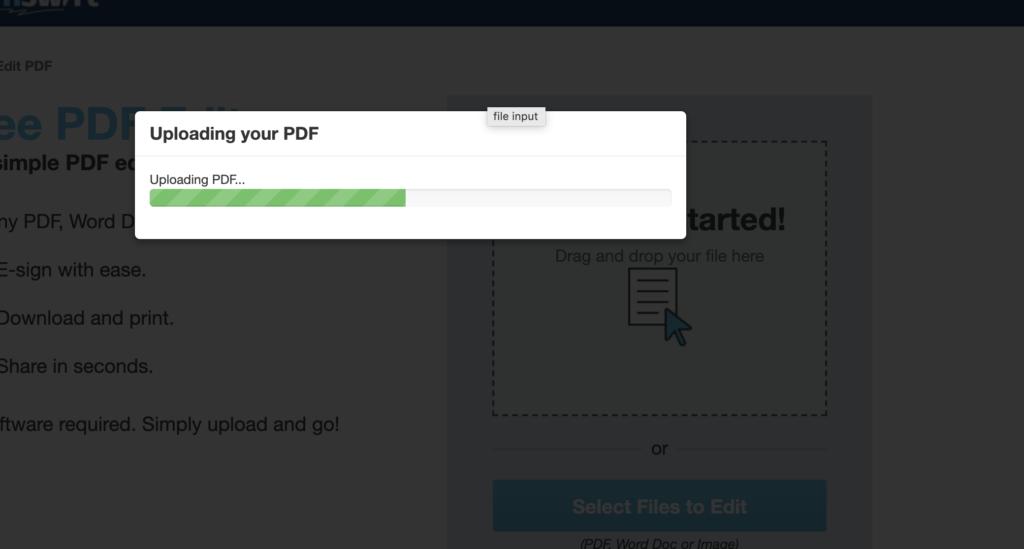 Upload file và tiến hành đợi chỉnh sửa