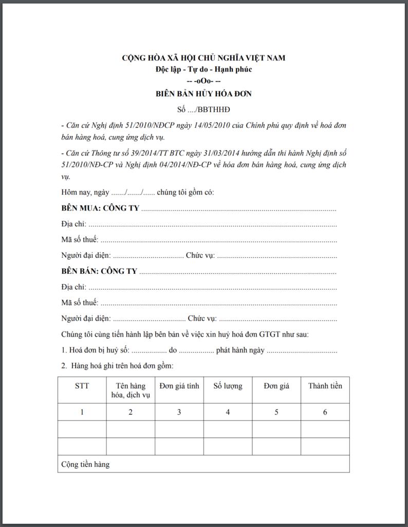 Biên bản huỷ hoá đơn mới nhất-Biên bản điều chỉnh, thu hồi hoá đơn
