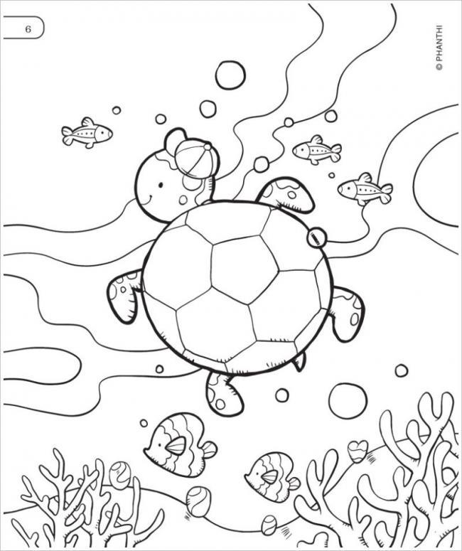 Mẫu tranh tô màu con rùa và cá phù hợp cho bé 5 tuổi