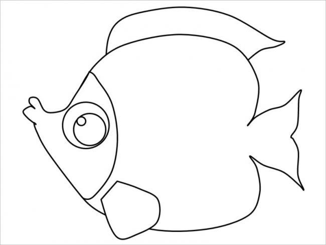 Tranh tô màu con vật - con cá đơn giản