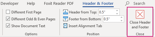 Close Header and Footer